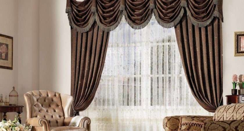Gold Living Room Windows Curtain Drapes Red Pattern Also