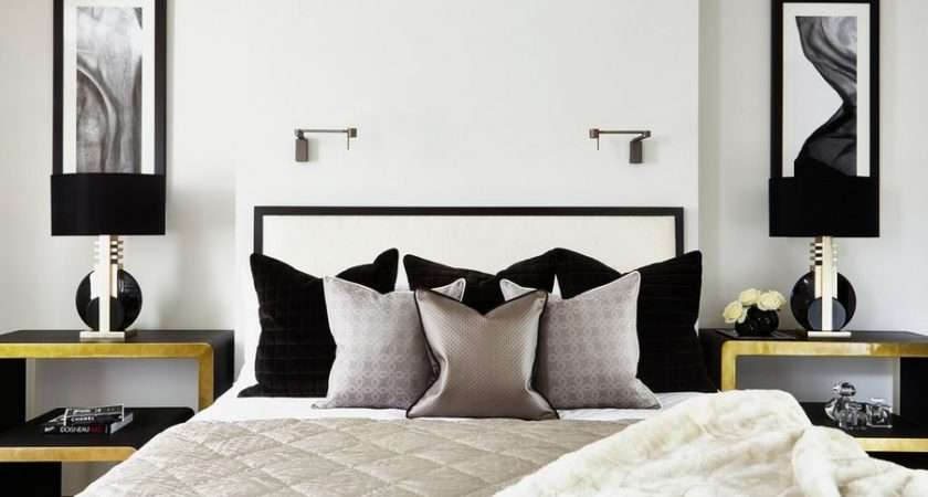 Golden Silver Accents Black White Bedroom