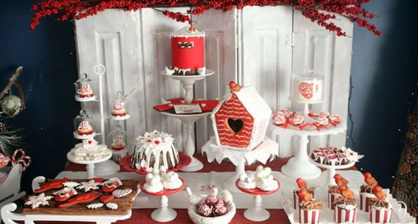 Gorgeous Red White Themed Christmas Dessert Table