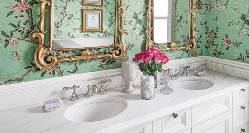 Gorgeous Wallpapered Bathrooms