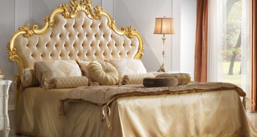 Grand Button Upholstered Gold Leaf Rococo Bed Juliettes
