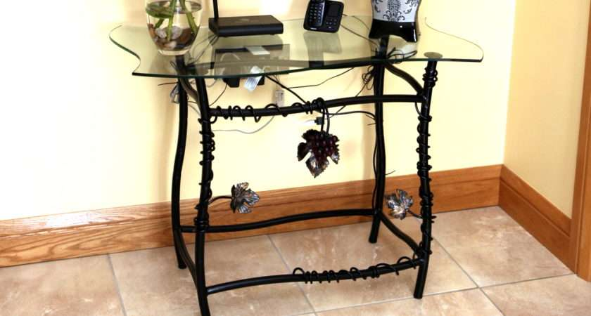 Grape Vine Glass Topped Hall Table Quality Wrought Iron Furniture