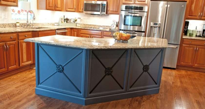 Gray Black Painted Kitchen Island Added Molding