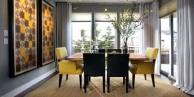Gray Dining Room Yellow Accents Contemporary