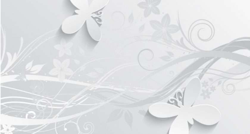 Gray Flowers Butterflies Vector