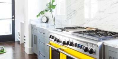 Gray Kitchen Cabinets Yellow Stove Contemporary