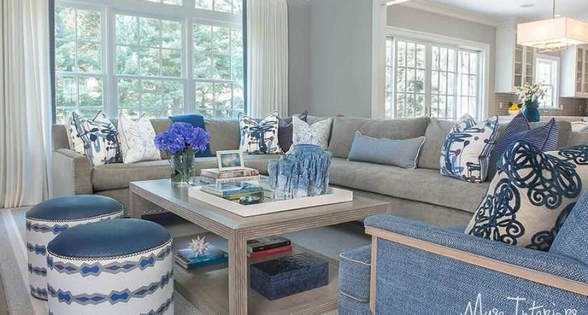 Gray Sectional Blue Accents Transitional Living Room