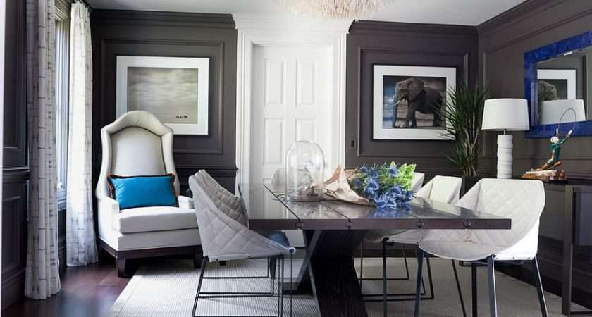 Gray Walls Royal Blue Accents Classy Dining Room Decoist