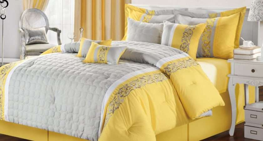 Gray Yellow Bedroom Calm Nuance Traba Homes