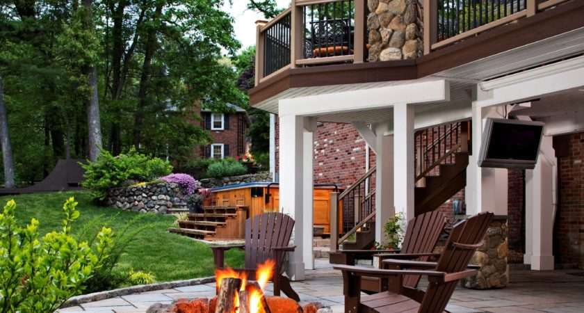 Great Outdoor Patio Ideas Fire Pit Area Wood Deck