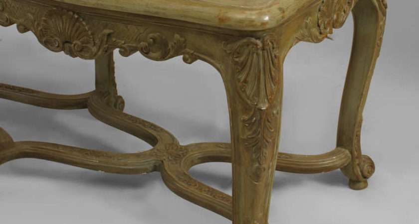 Green Painted Carved French Regence Style Bench