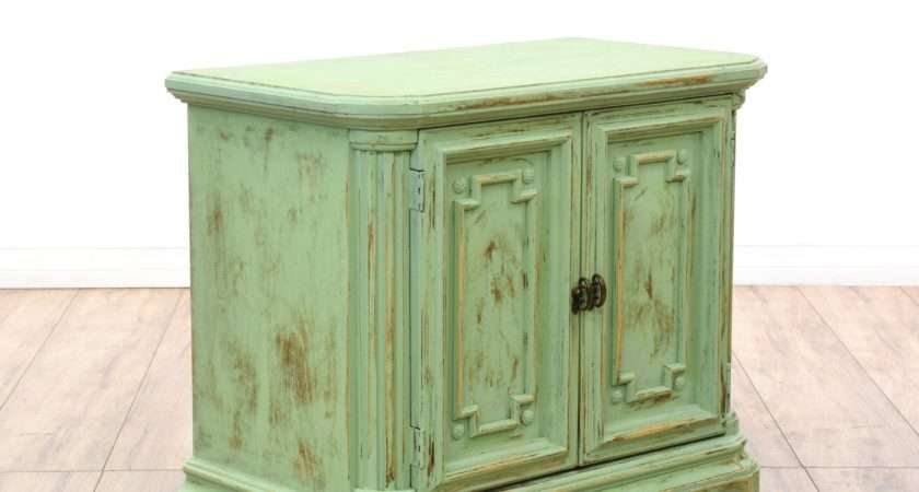 Green Shabby Chic Carved Foyer Cabinet Loveseat Vintage