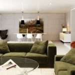Green White Orange Living Room Interior Design Ideas