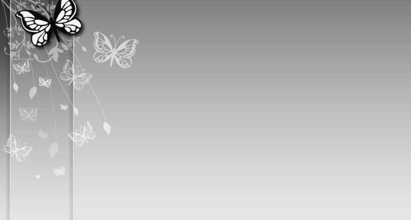 Grey Butterfly Flower Ppt