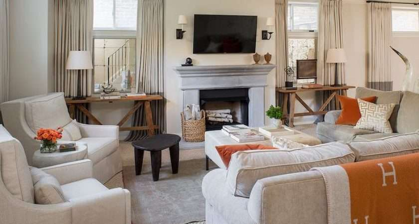 Grey Living Room Orange Accents Transitional