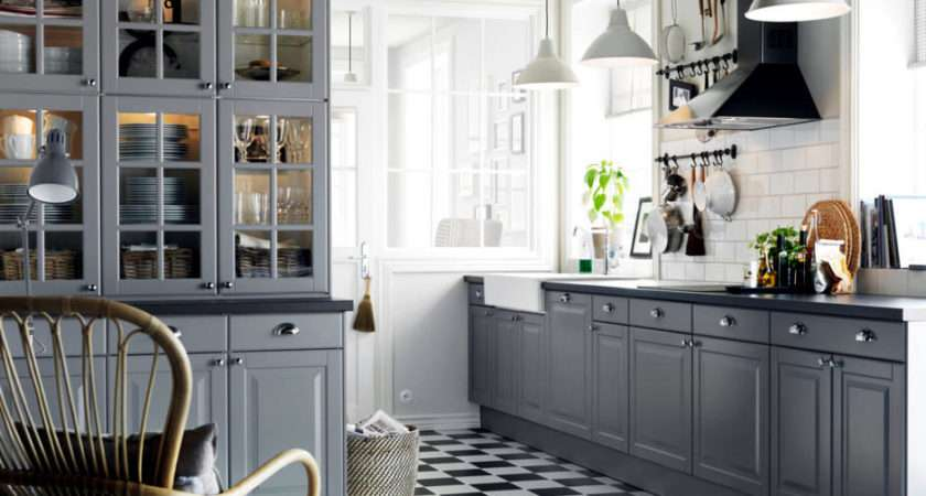 Grey Mounted Country Style Kitchen Interior Design
