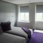 Grey Roller Shades Blackout Blinds Purple Bedroom