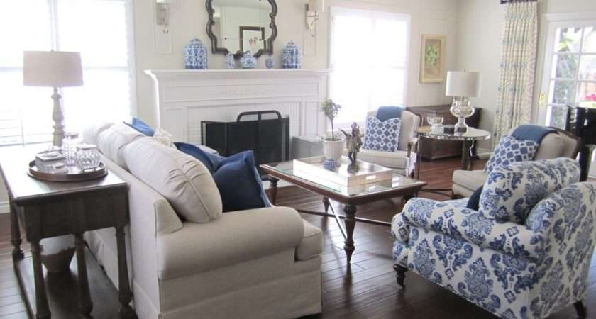 Grey Silver Blue White Living Room Decorating Ideas