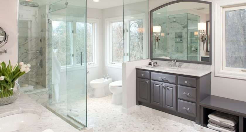 Grey White Bathroom Decoration Using Pebble Tile