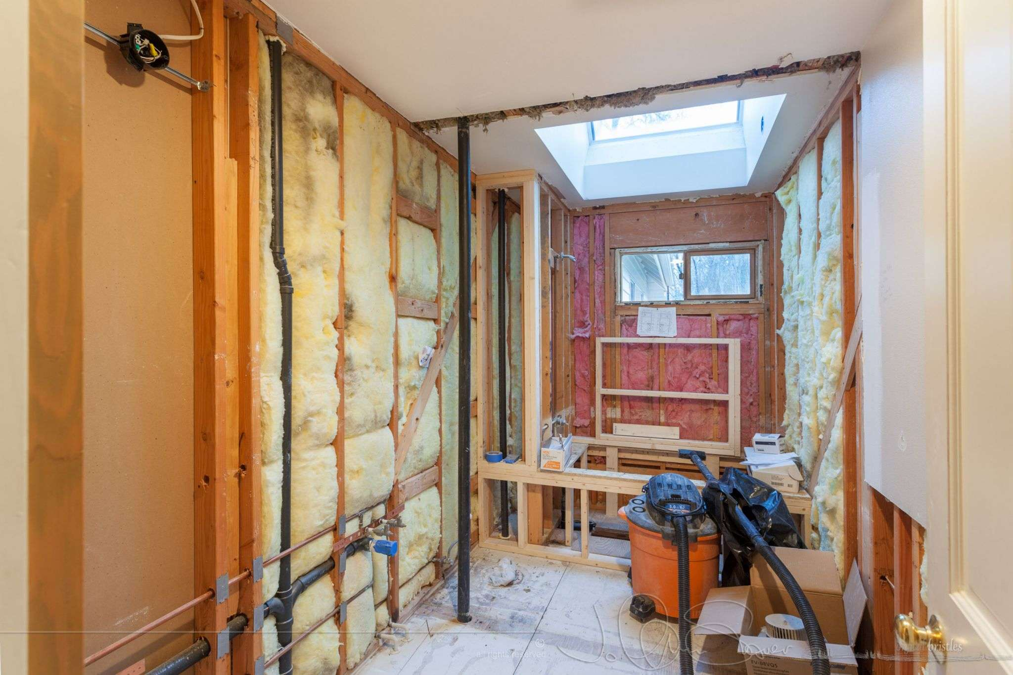 Gutting Hall Bath Make Wet Room Behind Frosted Glass