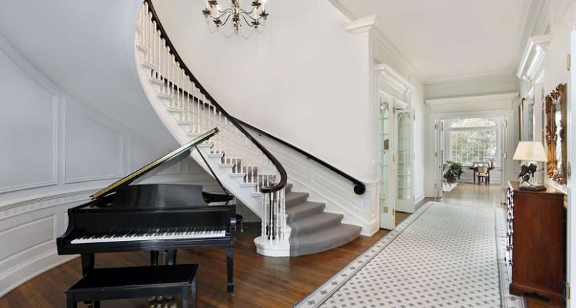 Hall Baby Grand Piano Wood Floor Rug White Color