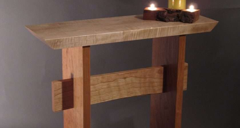 Hallway Furniture Rustic Wood Narrow Console Table