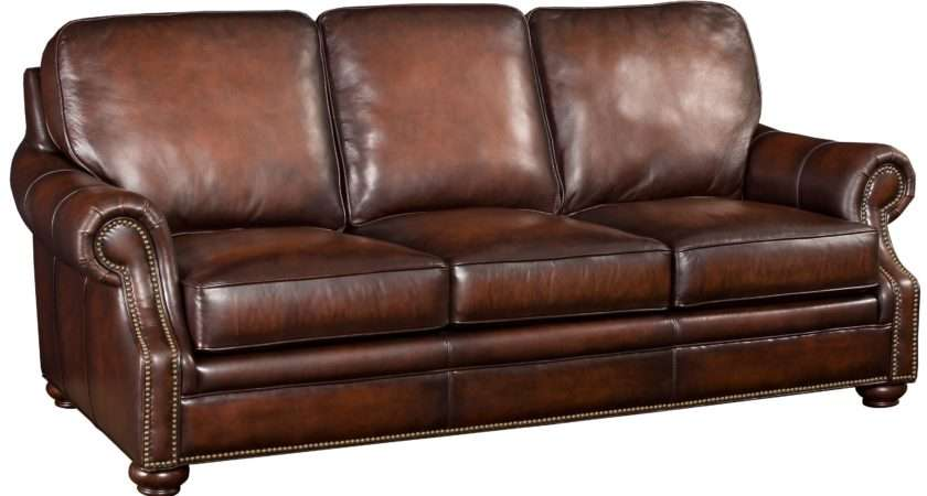 Hamilton Home Brown Leather Sofa Wood Exposed