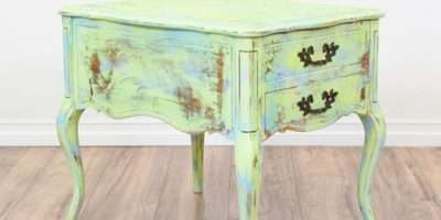 Hammary Mint Green Blue Shabby Chic End Table