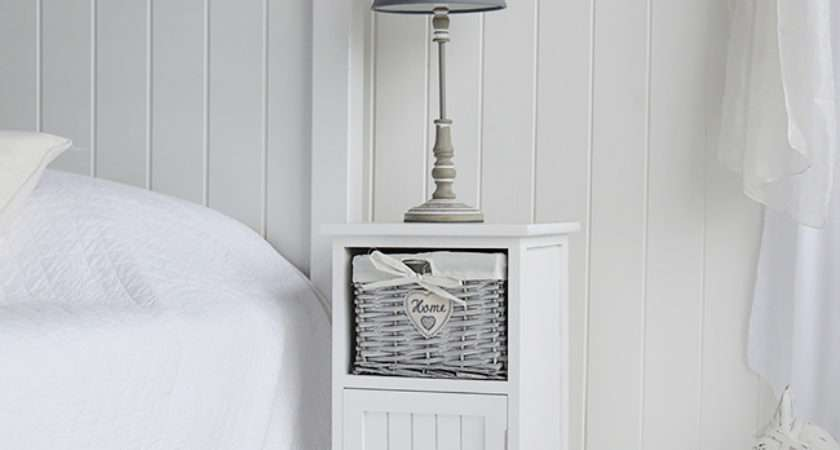 Hampshire White Lamp Bedside Table Wide Living