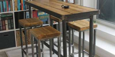 Hand Made Bespoke Modern Industrial Long Narrow Bar Table
