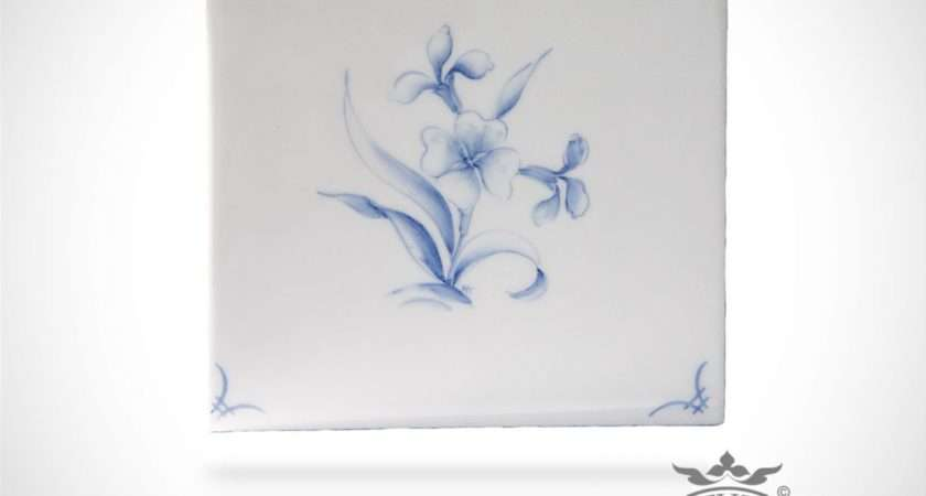Hand Painted Tile Delft Flowers