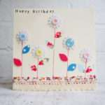 Happy Birthday Card Buttons Flowers Handmade Sewmice