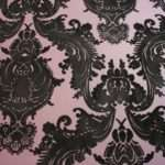 Heirloom Damask Velvet Flocked Plum Black