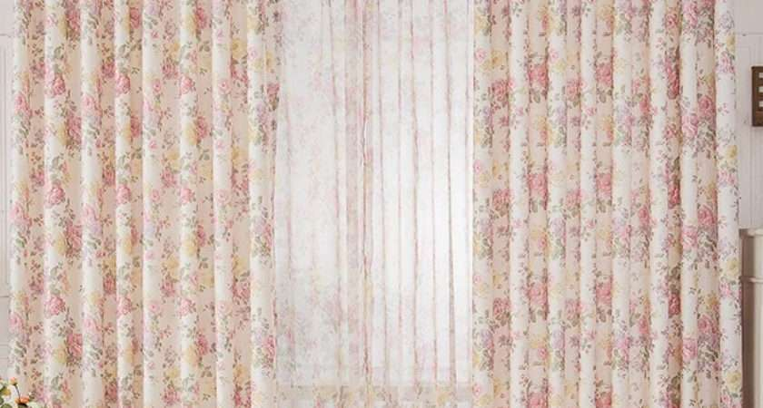 High End Floral Pink Shabby Chic Curtain Bedroom