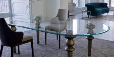 High End Italian Oval Glass Dining Table Juliettes Interiors