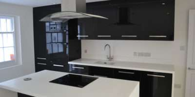 High Gloss Black Kitchen White Worktop