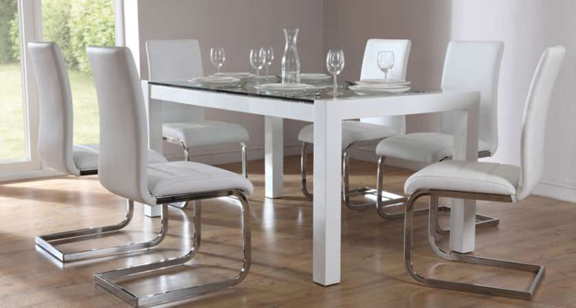 High Gloss Glass Dining Set White Only Furniture Choice
