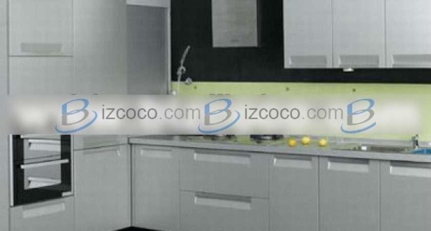 High Glossy Stainless Steel Kitchen Unit Design
