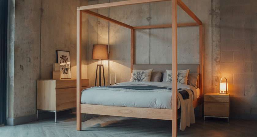 Highland Upholstered Poster Bed Natural Company