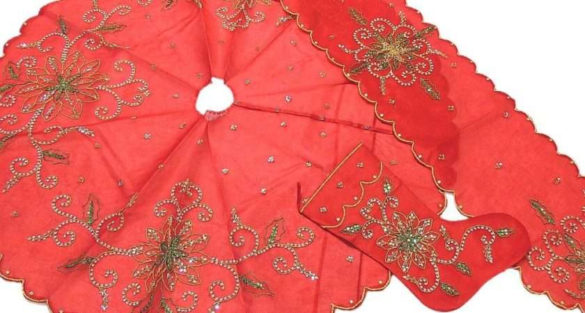Holiday Tradition Tree Skirt Red Ornamental Xmas Stocking Embroidered