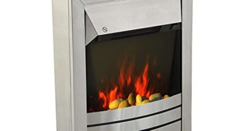 Homcom Stainless Steel Electric Fireplace Pebble