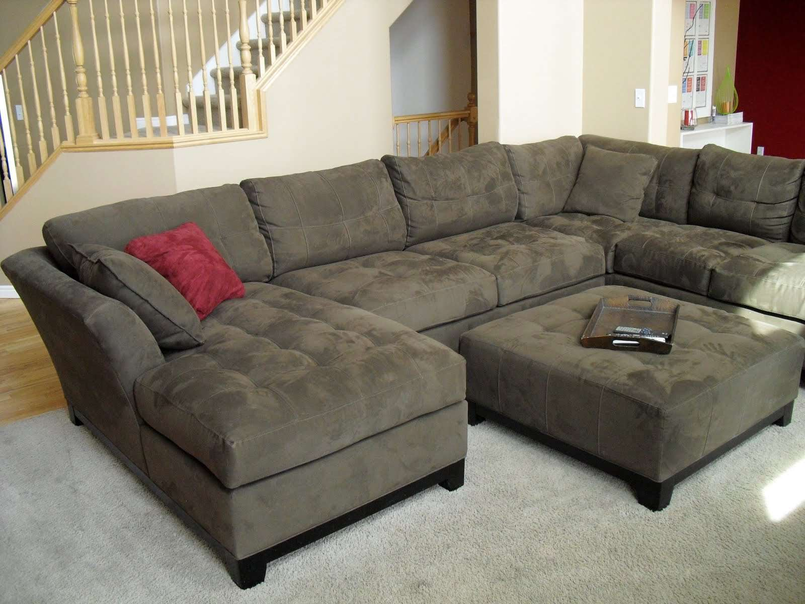 Home Furniture Decoration Green Walls Brown Couch
