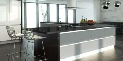 Home News Product Recycled Glass Black Worktop Star Back