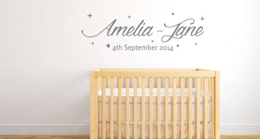 Home Personalised Baby Name Date Wall Sticker