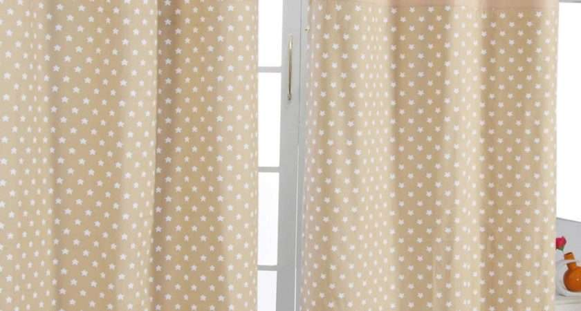 Homescapes Cotton Stars Beige Ready Made Eyelet Curtain