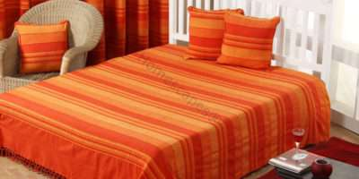 Homescapes Orange Large Cotton Stripe Sofa Bed Throw Blanket Cushion