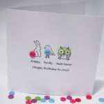 Hoppy Birdy Twit Twoo Birthday Card Bunny Bird Nikelcards
