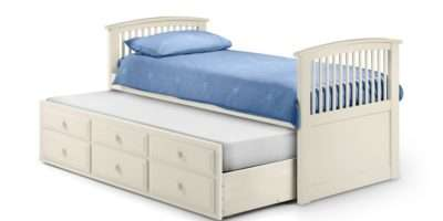 Hornblower Stone White Wooden Drawer Storage Guest Bed