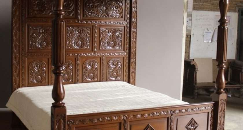 Huge Tudor Style Reproduction Mahogany Carved Four Poster