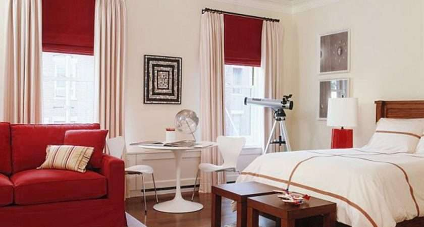 Ideas White Wall Paint Red Sofa Wooden Flooring Bedroom Decor Teen